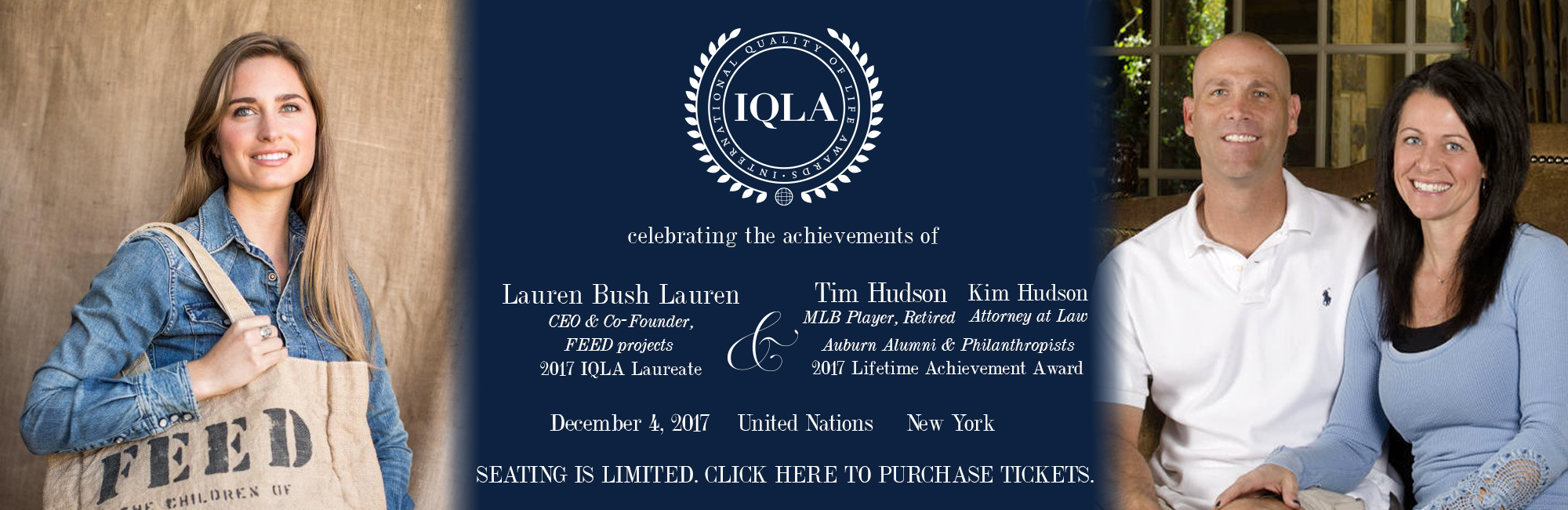 2017 IQLA Laurette and Lifetime Achievement Award winner announcement graphic. Lauren Bush Laurn to the Left and Tim and Kim Hudson to the right.