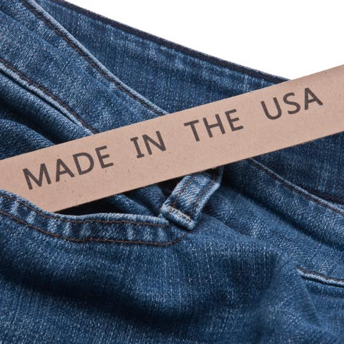Photo of jeans with a Made in America sign on them.