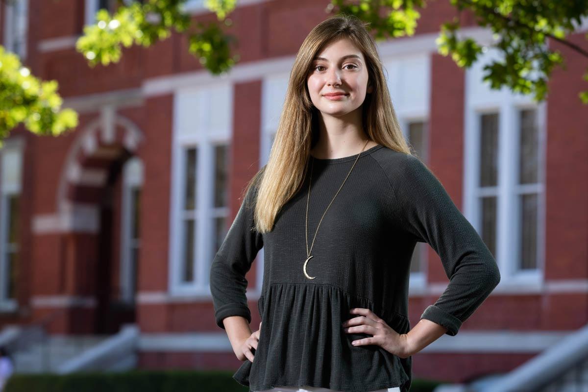 Photo of Allison Tidwell standing Samford Lawn.